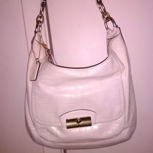 AUTH COACH KRISTIN OFF WHITE CROC LEATHER HOBO BAG